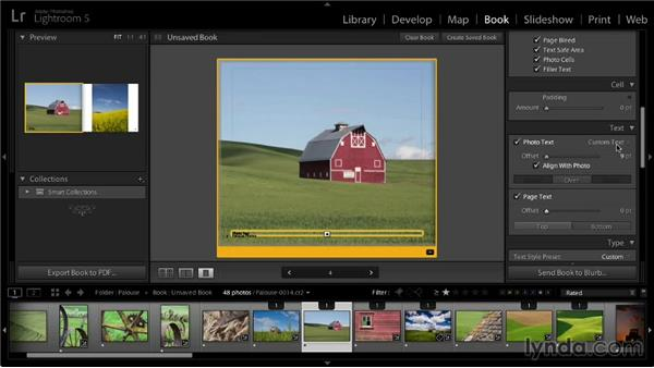 Adding text to pages: Lightroom 5: 07 Making Photo Books
