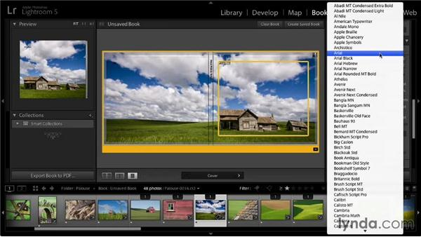 Changing font settings: Lightroom 5: 07 Making Photo Books