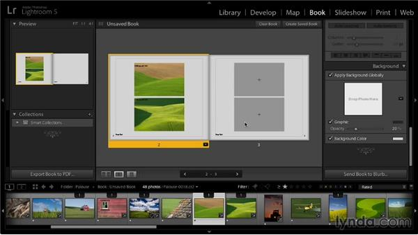 Changing page backgrounds: Lightroom 5: 07 Making Photo Books