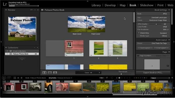 Creating JPEGs of the book: Lightroom 5: 07 Making Photo Books