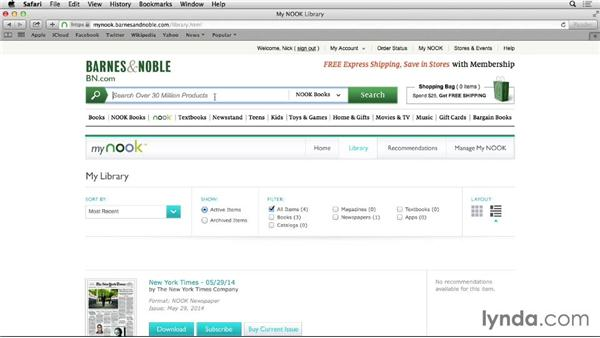 Shopping and reading on the NOOK website: Up and Running with NOOK