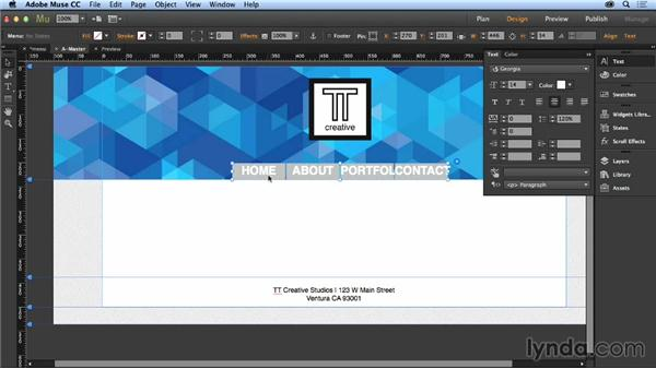 Creating menus: Up and Running with Muse