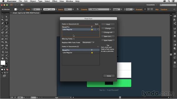 Using Typekit to find missing fonts: Illustrator: 2014 Creative Cloud Updates