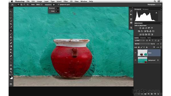 Moving an object with Content-Aware Move: Photoshop for Photographers: 2014 Creative Cloud Updates