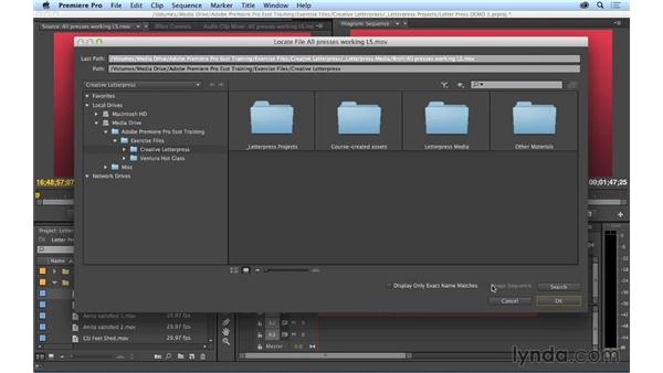 Relinking offline media: Premiere Pro CC Essential Training (2014)
