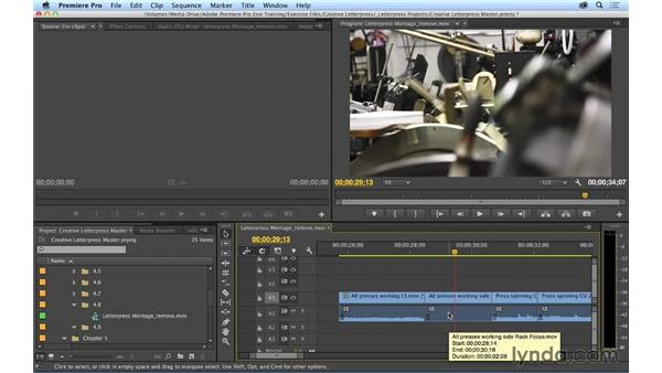 Splitting clips and removing material: Premiere Pro CC Essential Training (2014)