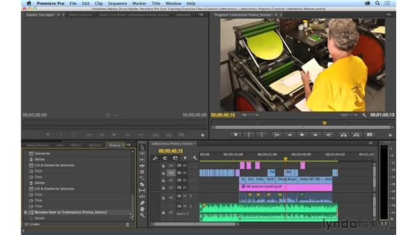 Using the History panel to undo and redo actions: Premiere Pro CC Essential Training (2014)
