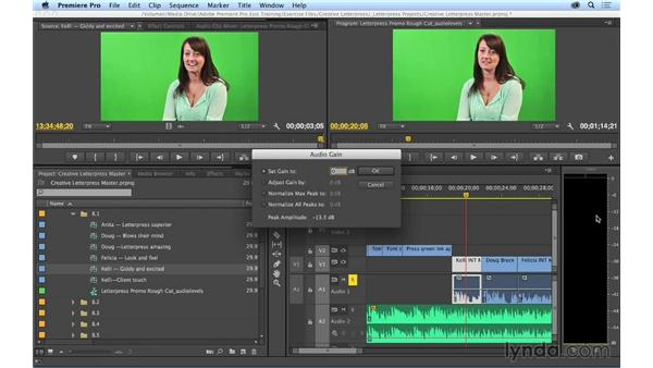 Making basic audio level adjustments: Premiere Pro CC Essential Training (2014)