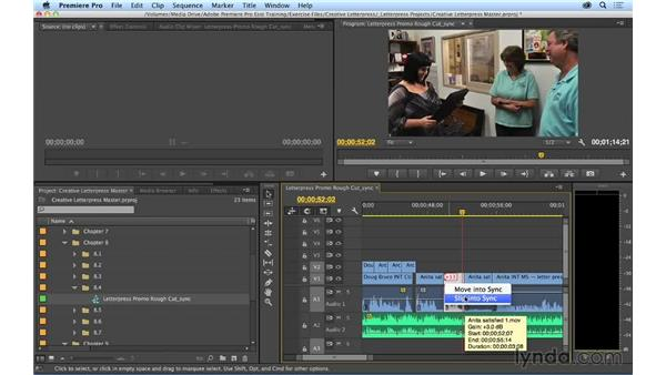 Fixing out-of-sync audio: Premiere Pro CC Essential Training (2014)