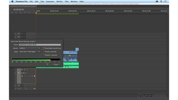 Recording voice-over in the Timeline: Premiere Pro CC Essential Training (2014)