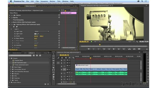 Using adjustment layers with effects: Premiere Pro CC Essential Training (2014)