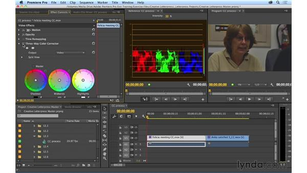Following a proper color correction workflow using the Three-Way Color Corrector: Premiere Pro CC Essential Training (2014)