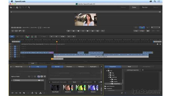 Color correcting your sequence in SpeedGrade: Premiere Pro CC Essential Training (2014)
