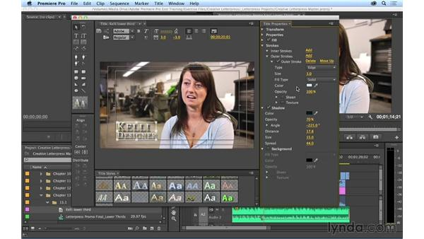 Creating a basic lower-third title: Premiere Pro CC Essential Training (2014)