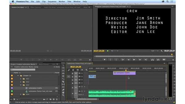 Creating rolling and crawling titles: Premiere Pro CC Essential Training (2014)