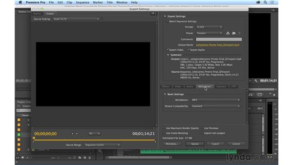 Exporting your project: Premiere Pro CC Essential Training (2014)