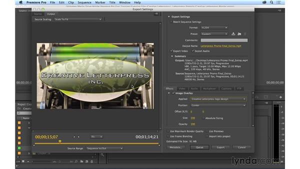Using export enhancements: Premiere Pro CC Essential Training (2014)
