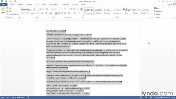 Clearing formatting: Word 2013 Power Shortcuts