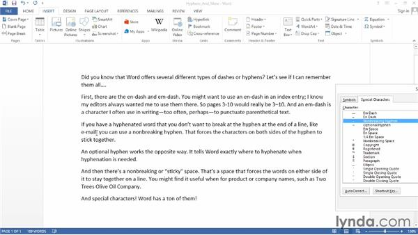 Inserting special hyphens, spaces, and symbols: Word 2013 Power Shortcuts