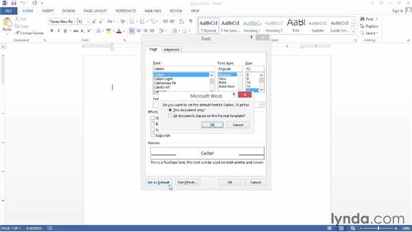 Setting default document options: Word 2013 Power Shortcuts