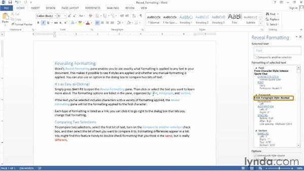 Revealing formatting: Word 2013 Power Shortcuts