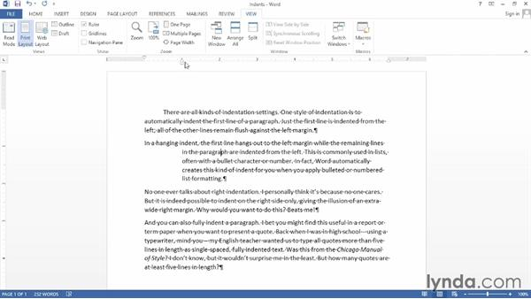 Indenting paragraphs: Word 2013 Power Shortcuts