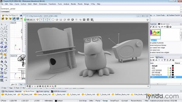 Using the material override for quick reviews: Rendering Fundamentals with Rhino and V-Ray