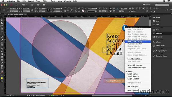 Setting up color groups (CC 2014): InDesign CC Essential Training (2013)