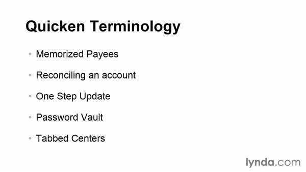 Defining common Quicken terminology: Quicken 2014 Essential Training