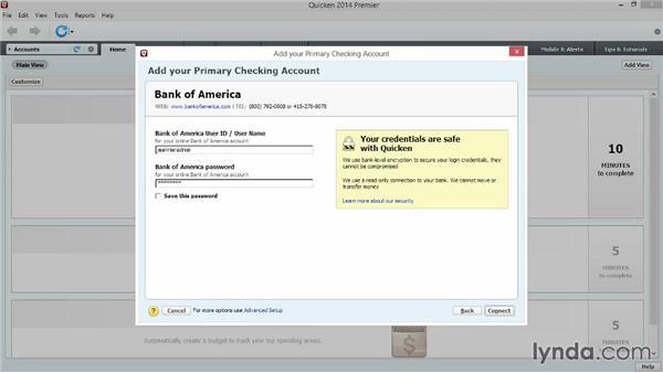 Adding your first account: Quicken 2014 Essential Training