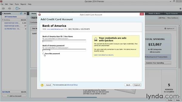 Adding other spending and savings accounts: Quicken 2014 Essential Training