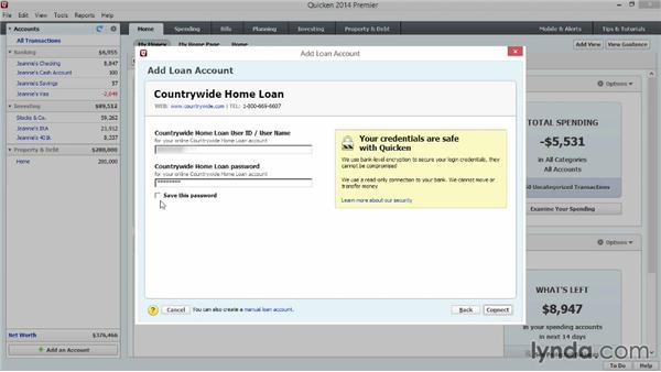 Adding loan and debt accounts: Quicken 2014 Essential Training