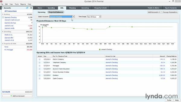 Projecting future account balances: Quicken 2014 Essential Training