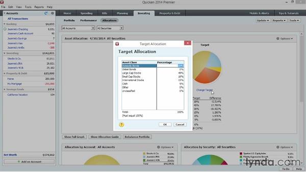 Monitoring asset allocation: Quicken 2014 Essential Training