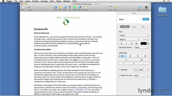 Opening, editing, and saving documents: Pages 5 Essential Training