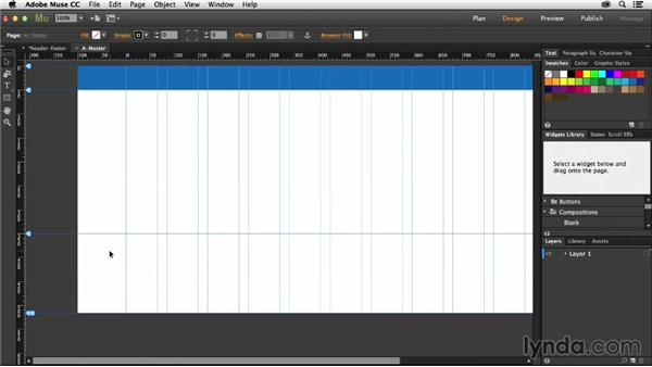 Setting up headers and footers: Muse Essential Training