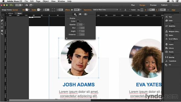 Adding effects to objects: Muse Essential Training