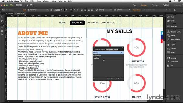 Creating paragraph and character styles: Muse Essential Training