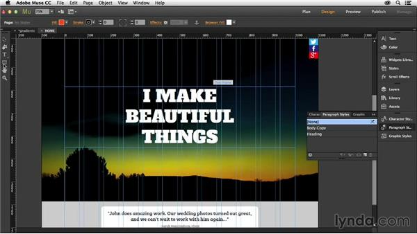 Creating and adding gradients: Muse Essential Training