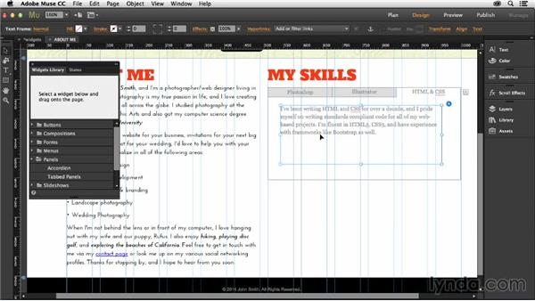 Creating a tabbed panel: Muse Essential Training