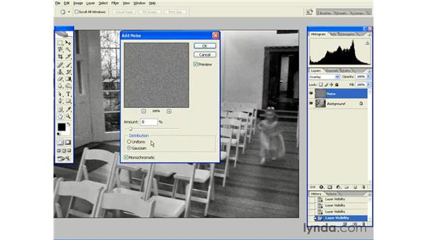 Simulating Film Grain with Add Noise: Photoshop CS2 Essential Training