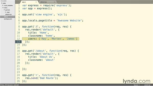 Using locals and conditional templates: Building a Website with Node.js and Express.js (2014)