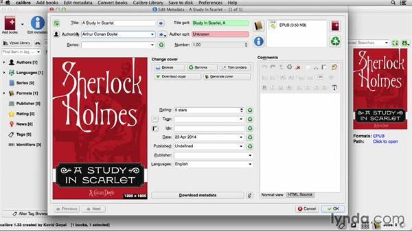 Adding or editing metadata: Creating Ebooks for the Kindle