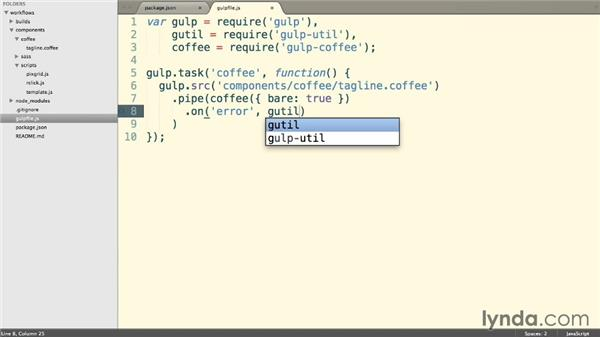 Processing our first task with gulp-coffee: Web Project Workflows with Gulp.js, Git, and Browserify