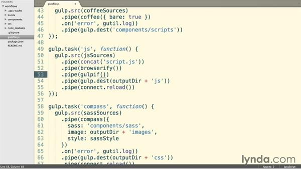 Uglifying conditionally with gulpif: Web Project Workflows with Gulp.js, Git, and Browserify