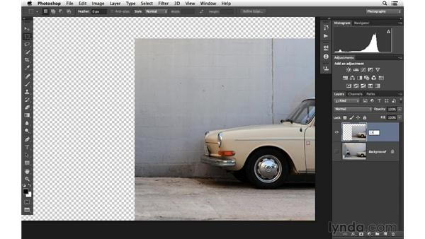 Using repeated Content-Aware Fill commands to clean up an image (CC 2014): Photoshop CC for Photographers: Fundamentals