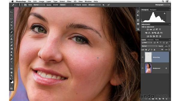 Reducing wrinkles and shadows under the eyes (CC 2014): Photoshop CC for Photographers: Fundamentals