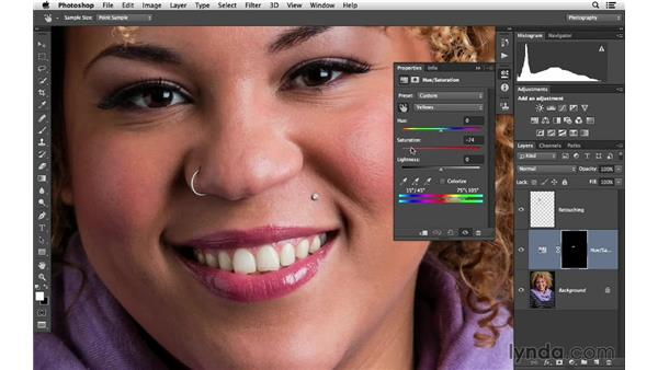 Whitening teeth with selection and adjustment layers (CC 2014): Photoshop CC for Photographers: Fundamentals