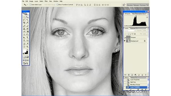 High Pass Sharpening with Overlay: Photoshop CS2 Essential Training