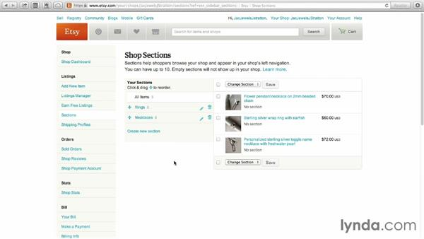 Organizing your shop with sections: Selling on Etsy